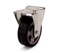Колесо из эластичной резины, диаметр 200 мм, с неповоротным стандартным кронштейном