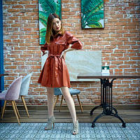 Повседневное платье офисного стиля из эко-кожи, рыжего цвета, р. 42,44,46,48,50