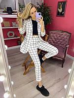 Женский стильный  костюм пиджак брюки 42-44 44-46 48-50 52-54 белый черный рыжий в клетку