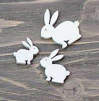 Кролики -белые дерев. *3 шт