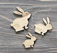 Кролики -коричневые дерев. *3 шт