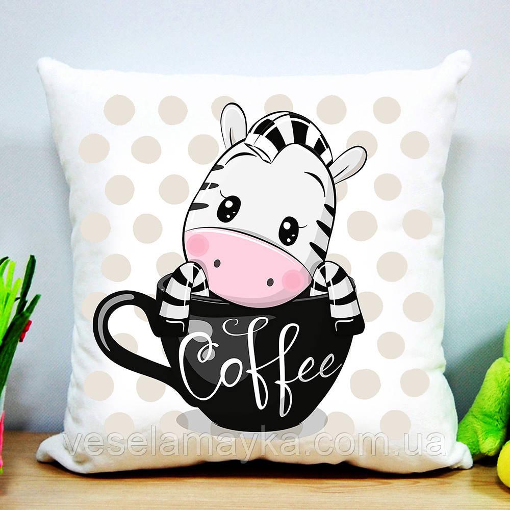 Детская подушка Зебра и кофе