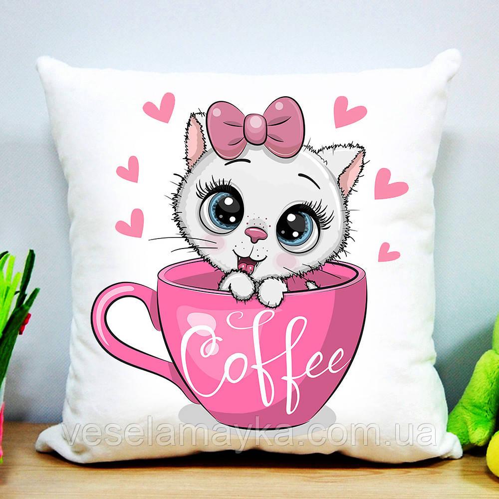 Детская подушка Кот и кофе