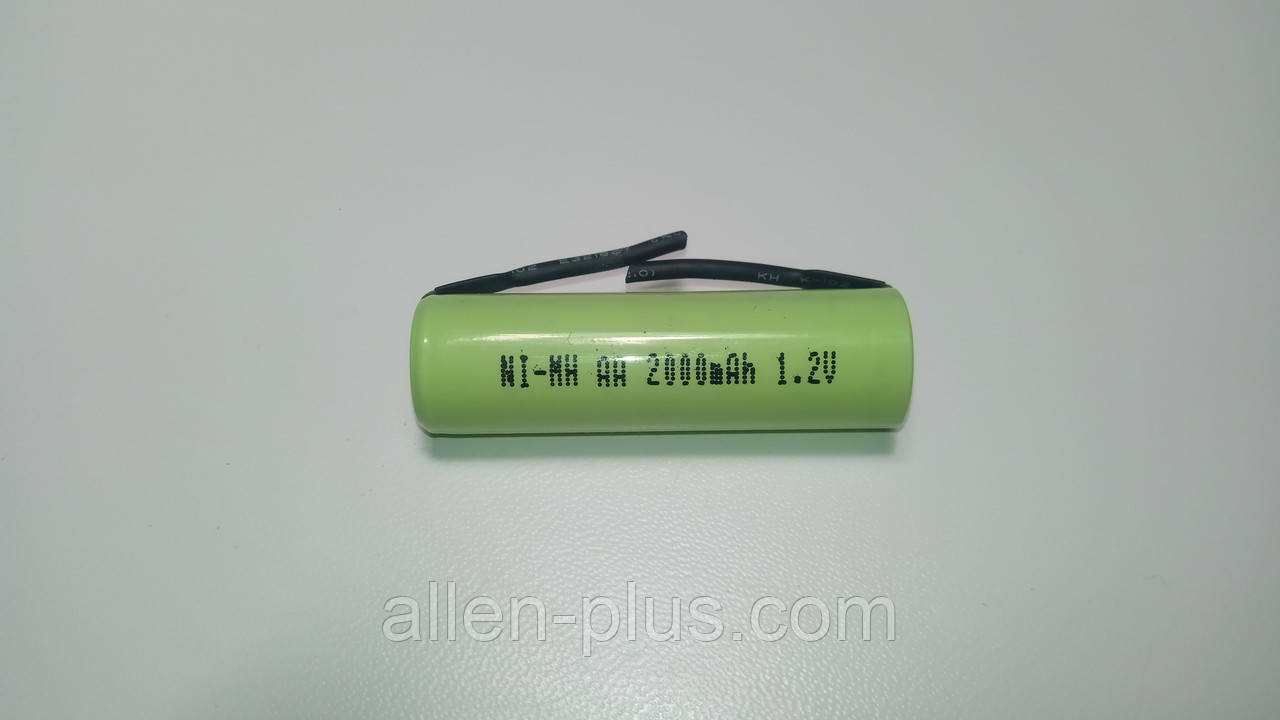 Акумулятор c пелюстками AA/HR6 1,2 V Ni-MH 2000mAh, під пайку / зварювання, плоский плюс, розмір 14 мм x 49 мм