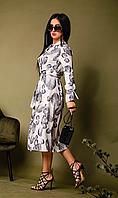 Платье женское летнее с легкой ткани софт с длинным вшивным рукавом