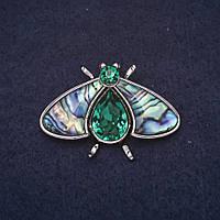 Брошь Мотылек 40х27мм камни цвет зеленый халиотис металл серебристый