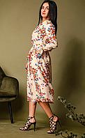Платье женское летнее с длинным вшивным рукавом розового цвета