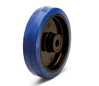 Колесо из эластичной резины синего цвета, диаметр 125 мм, без кронштейна