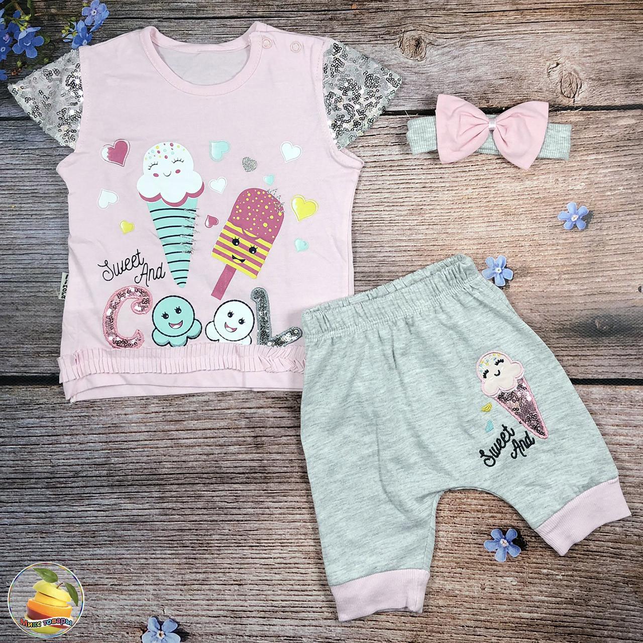 Летний костюм для маленькой девочки Размер: 74,80,86 см (20238)