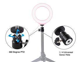 Кольцевая лампа для блогеров (16 см. диаметр кольца) без штатива Pink, фото 3