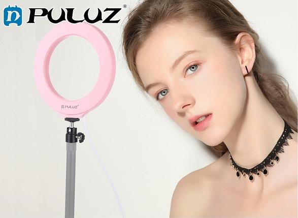 Кольцевая лампа для блогеров (16 см. диаметр кольца) без штатива Pink, фото 2