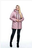Женская куртка удобная стильная демисезонная большого размера 50-66 р пудра, жемчуг, синий,  марсал цвет