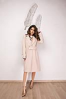Стильное кашемировое пальто на запах с оригинальным полупоясом, норма и батал большие размеры