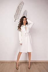 Стильне кашемірове пальто на запах з оригінальним полупоясом, норма і батал великі розміри