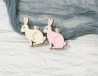 Прищепки-кролики белые-розовые дерев. *2 шт, фото 1
