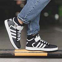 Высокие мужские кроссовки Adidas, эко-кожа (ТОП-реплика)