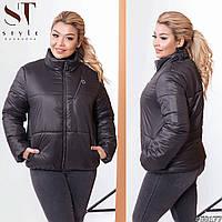 Женская удобная весенняя куртка на змейке с воротом стойкой, норма и батал большой размер