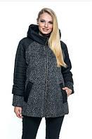 Женская куртка удобная стильная демисезонная большого размера 58-66 р черный цвет