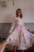 Женское красивое расклешенное платье из шифона с принтом