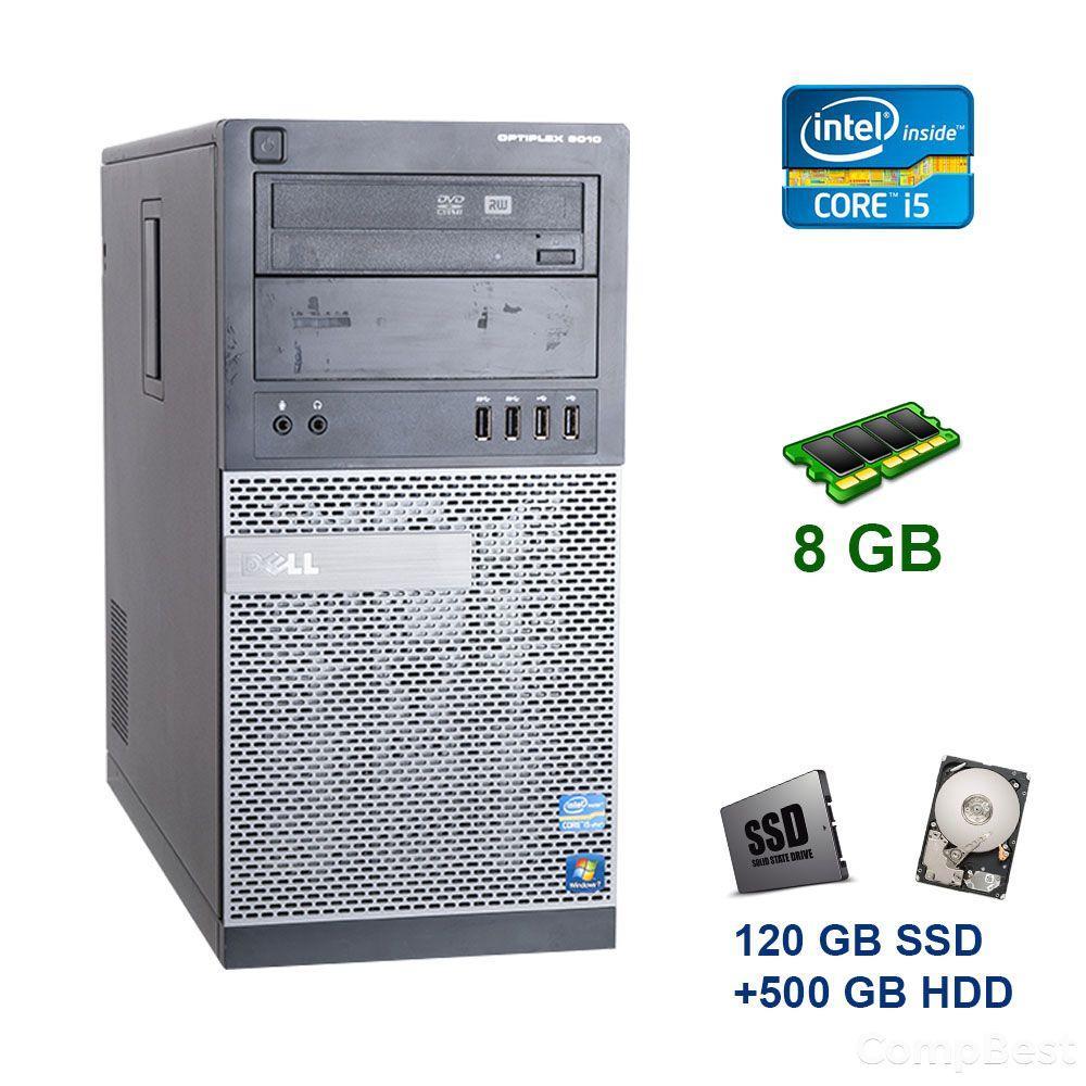 Dell OptiPlex 3010 Tower / Intel Core i5-2300 (4 ядра по 2.8 - 3.1 GHz) / 8 GB DDR3 / 120 GB SSD+500 GB HDD / nVidia GeForce GTX 1050, 2 GB GDDR5,