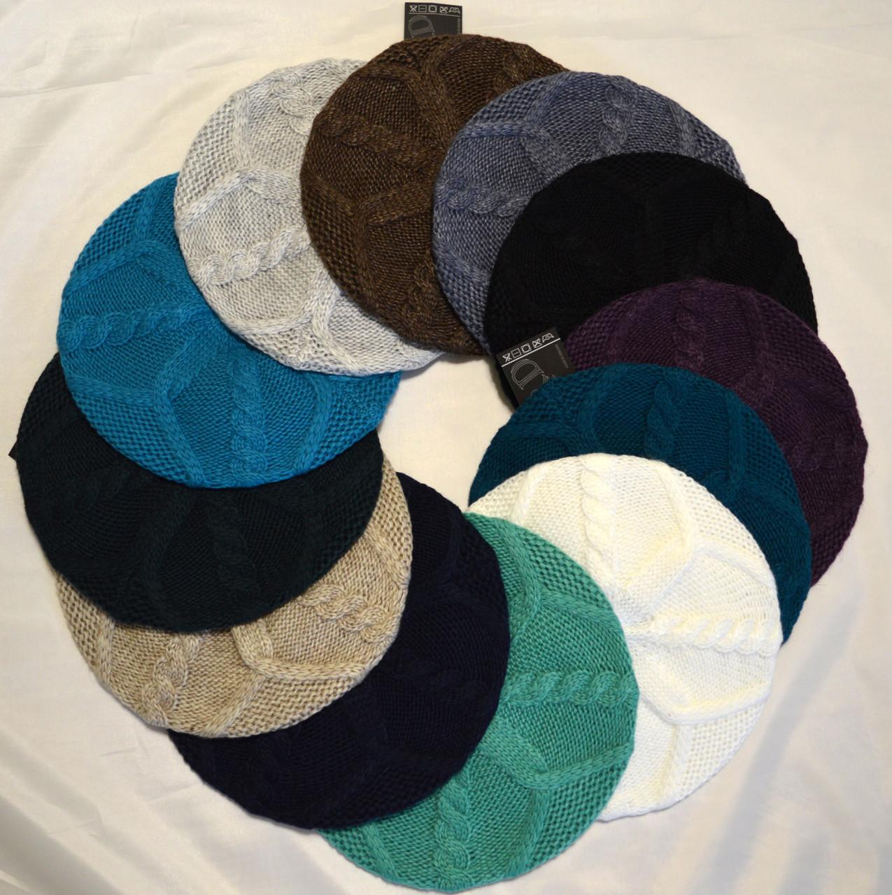 Вязаный женский берет: купить шапки оптом, цена в ...