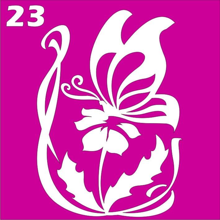 Цветок с бабочкой № 23 - трафарет для био тату хной и глиттер от Boni Kasel 6*6 см