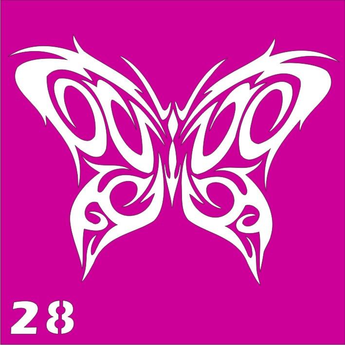 Бабочка узорная № 28 - трафарет для био тату хной и глиттер от Boni Kasel 6*6 см