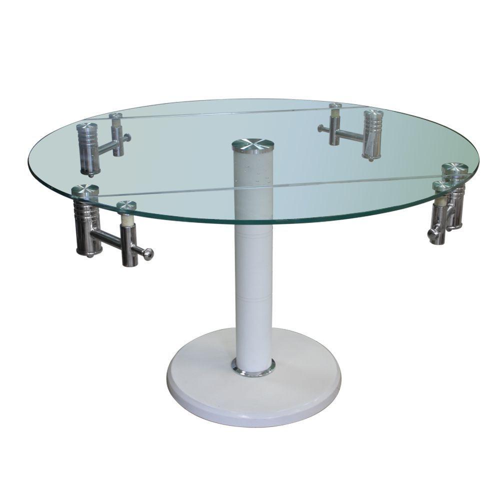 Стол обеденный раскладной B168-9 каркас хром, каменное основание, тонированное закаленное стекло белый