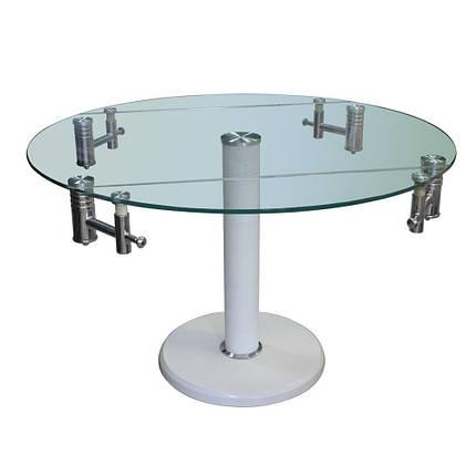 Стол обеденный раскладной B168-9 каркас хром, каменное основание, тонированное закаленное стекло белый, фото 2