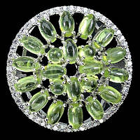 Серебряное Кольцо с ПЕРИДОТОМ (ХРИЗОЛИТОМ) и фианитами