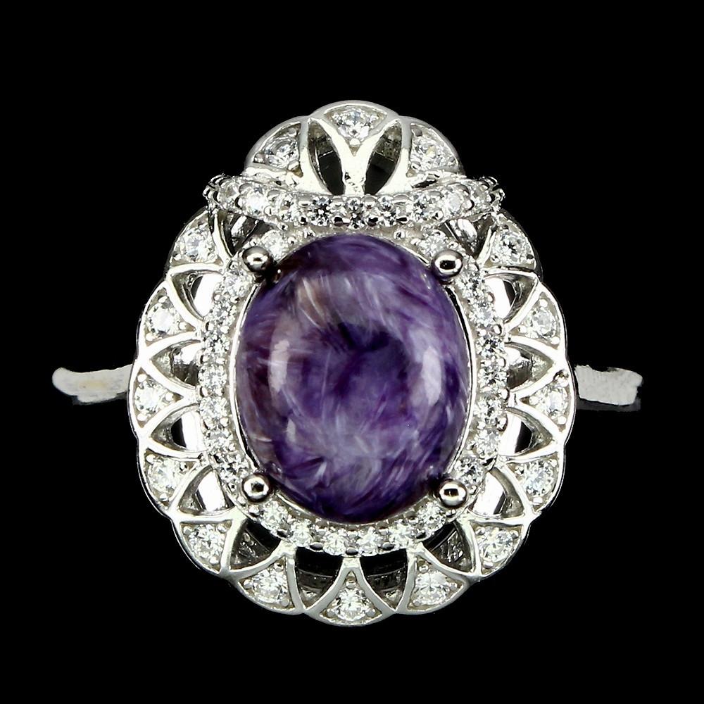 Серебряное Кольцо с натуральным Чароитом и фианитами