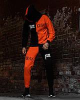 Мужской летний спортивный  костюм sad smile черный + оранжевый