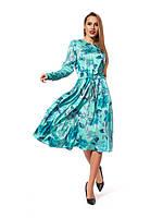 Повседневное платье, длина миди, свободный силуэт  с отрезной талией, зеленого цвета, р. 46.48.50.