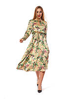 Повседневное платье, длина миди, свободный силуэт  с отрезной талией, бежевого цвета, р. 48.50.
