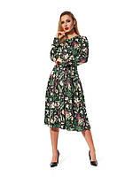 Повседневное платье, длина миди, свободный силуэт  с отрезной талией, черного цвета, р. 48.50.