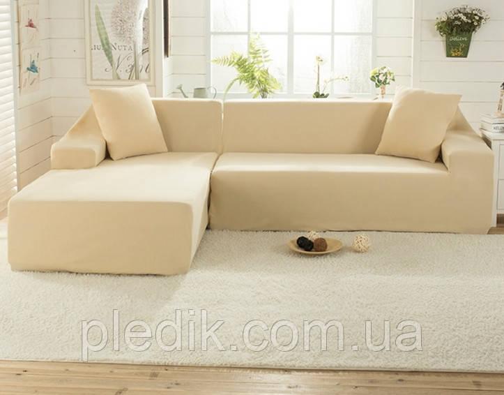 Чехол на диван 230х300 HomyTex универсальный эластичный Замша, бежевый