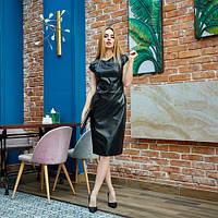 Стильное платье из эко кожи, приталенного силуэта, длина миди, черного цвета, р. 42.44.46.48.