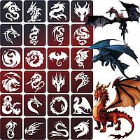 Набор трафаретов Драконы для блеск тату, био тату хной, 6х6, 24 шт.