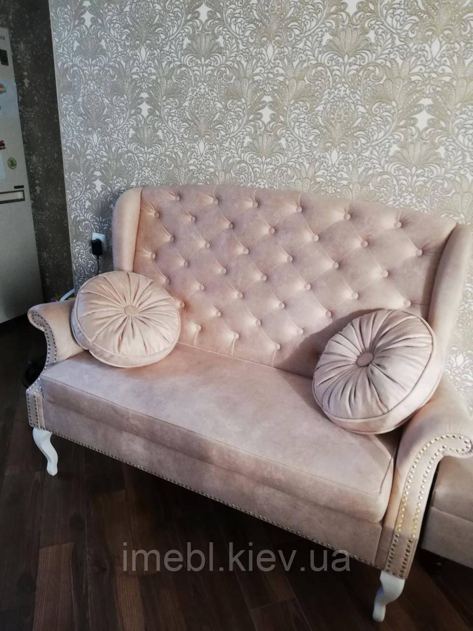 Кухонный диванчик с подушками (Розовый)