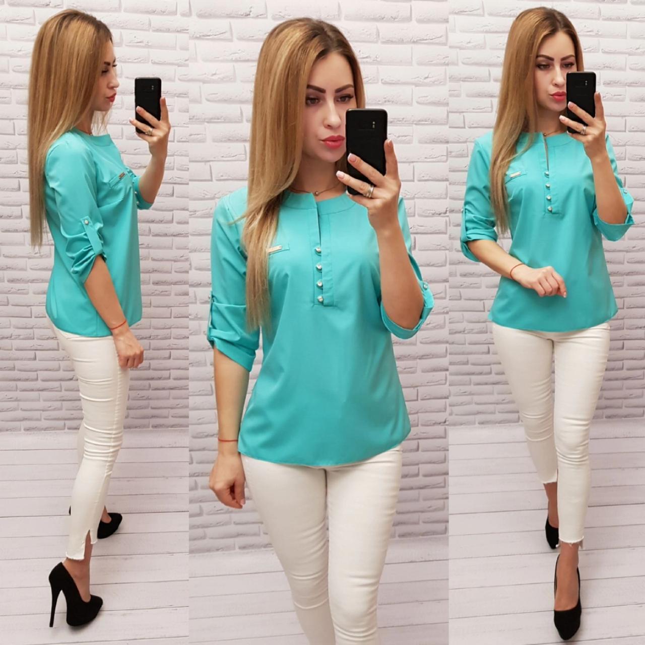 Блуза / блузка арт. 830 бирюзовая / бирюза / бирюзового цвета