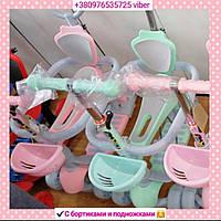 Детский  трехколесный самокат от 2 лет/ бирюзовый,  розовый/с родительской ручкой и защитой от падения_HH12M-1