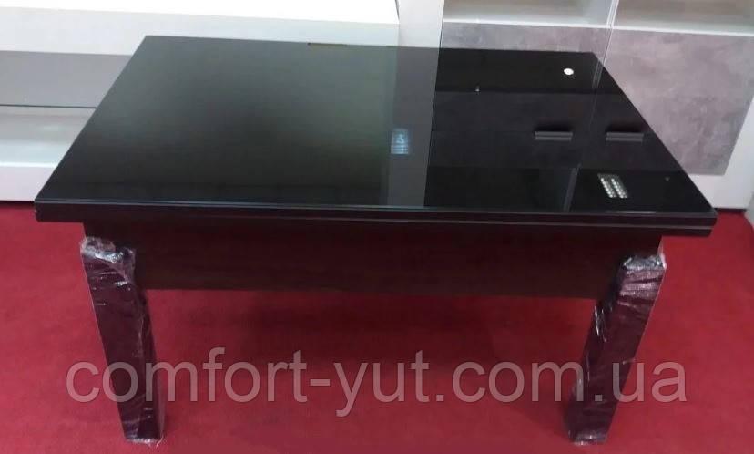 Стол трансформер Флай  венге  с черным стеклом , журнально-обеденный