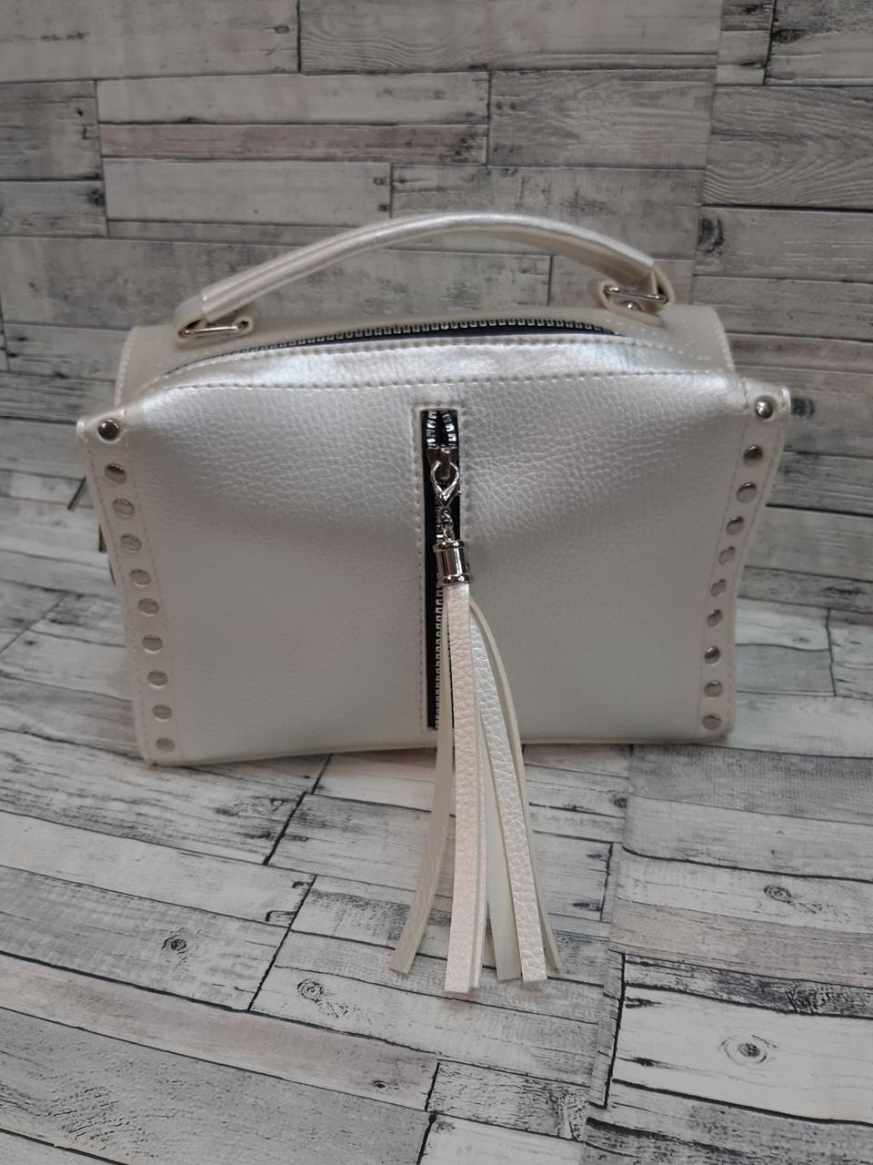 Женская Сумочка клатч  кросс-боди через плечо сумка саквояж. Перламутровая