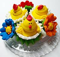 Пасхальное украшение из сахарной  мастики  набор цыплята