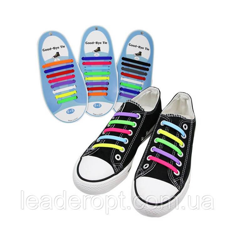 Шнурки силиконовые для обуви яркие модные разноцветные растягивающиеся Good-bye tir ОПТ