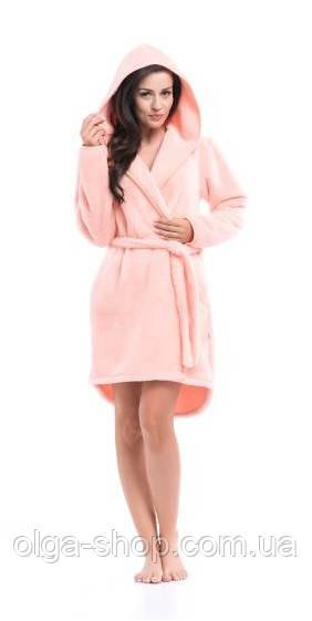 Халат женский домашний теплый плюшевый с капюшоном до колена Dobra Nocka 8045