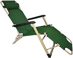 Шезлонг лежак стальной прочный садовое кресло на 180см с подголовником нагрузкой до 100 кгтемно-зеленый