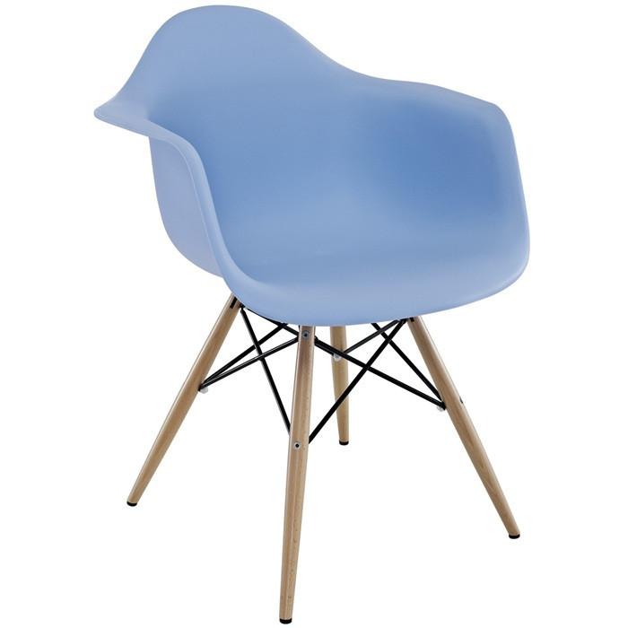 Кресло Тауэр Вуд, ножки деревянные, бук, пластик, цвет голубой