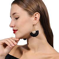 Модні богемні жіночі бахромні стильні сережки (чорні)