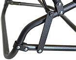 Шезлонг лежак стальной прочный садовое кресло на 153 см раскладное голубое с подголовником нагрузкой до 100 кг, фото 4